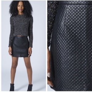 Topshop faux leather quilted mini skirt